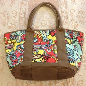 J. CREW  Colorful Floral Canvas Tote Bag/ Satchel
